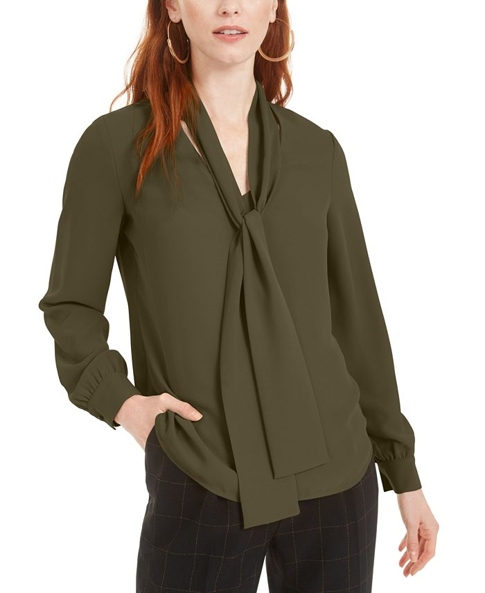 Bar III - Tie-Neck Blouse