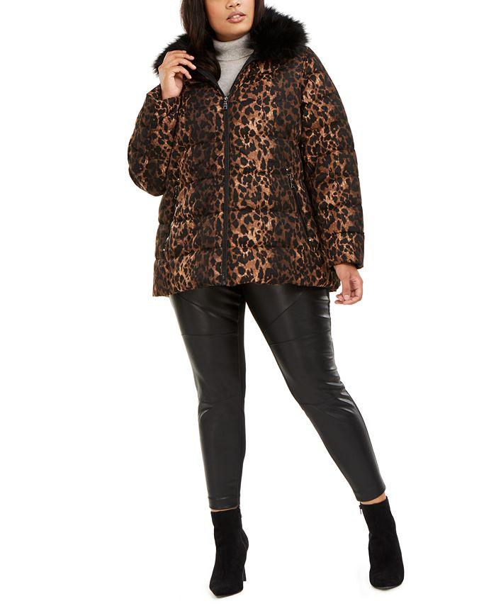 Tahari - Plus Size Hooded Faux-Fur-Collar Puffer Coat