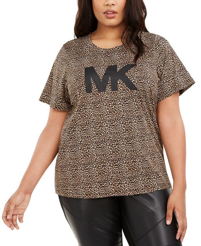 Michael Kors - Plus Size Animal-Print Logo T-Shirt