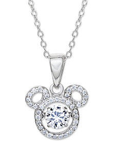 """Disney© Cubic Zirconia Mickey Mouse 18"""" Pendant Necklace in Sterling Silver"""