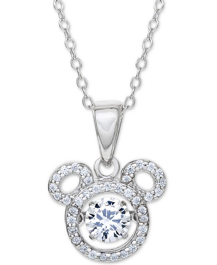 """Disney - Cubic Zirconia Mickey Mouse 18"""" Pendant Necklace in Sterling Silver"""