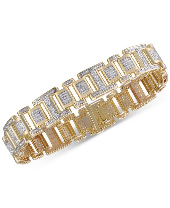 Macy's - Men's Diamond Link Bracelet (2-1/2 ct. t.w.) in 10k Gold