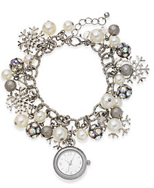 Holiday Lane Women's Snowflake Silver-Tone Charm Bracelet Watch 26mm, Created for Macy's