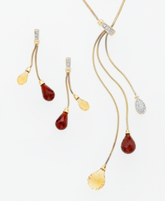 14k Gold Citrine (2-3/8 ct. t.w.), Garnet (2-1/2 ct. t.w.) & Diamond (1/10 ct. t.w.) Necklace - Lariat Necklaces