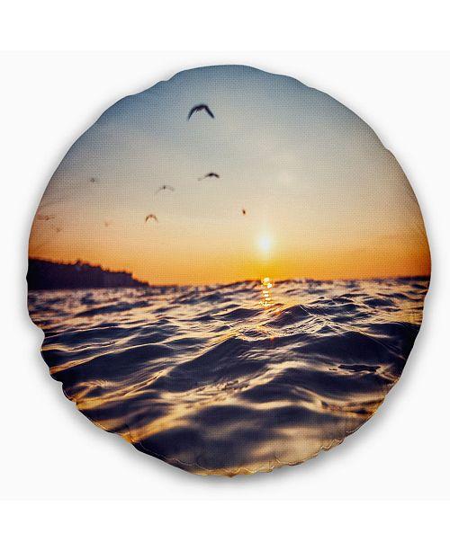 Design Art Designart Orange Tinged Sea Waters At Sunrise Beach Photo Throw Pillow 16 Round Reviews Decorative Throw Pillows Bed Bath Macy S