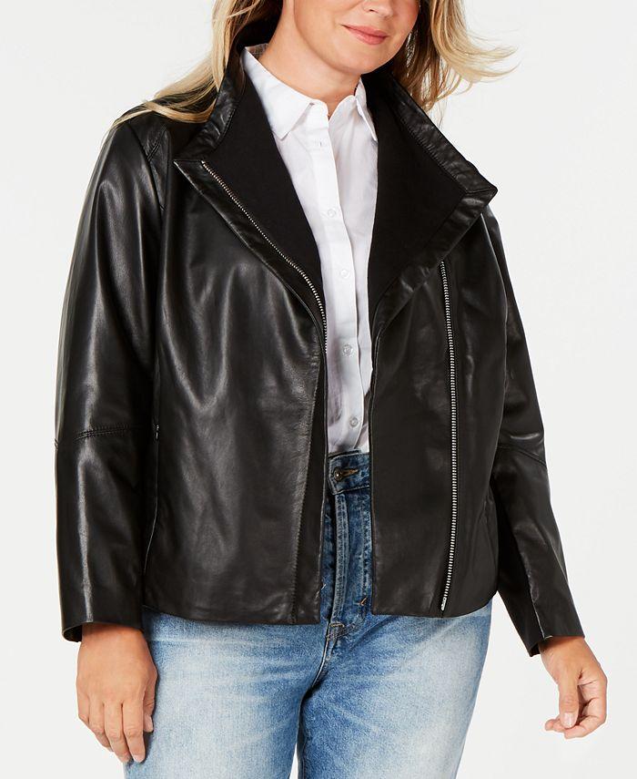 DKNY - Plus Size Asymmetrical Leather Jacket