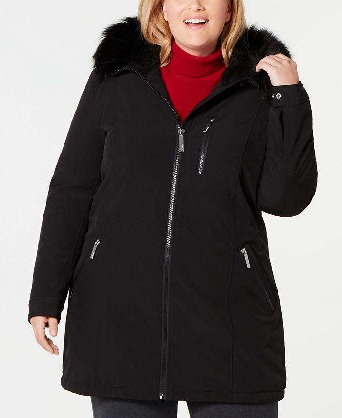 Calvin Klein - Plus Size Faux-Fur-Trim Hooded Raincoat