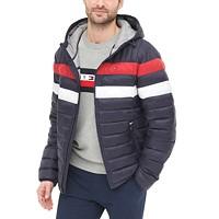 Deals on Tommy Hilfiger Mens Color Block Hooded Ski Puffer Coat