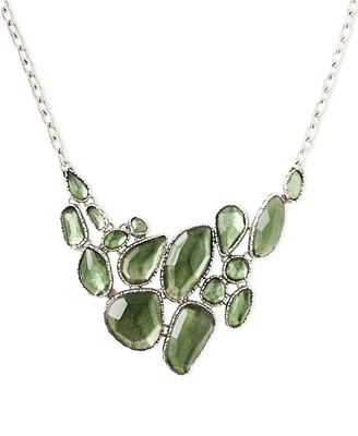 Lucky brand necklace silver tone green stone collar for Macy s lucky brand jewelry