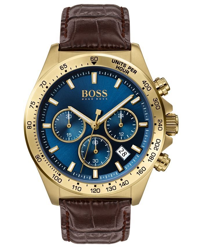 BOSS - Men's Chronograph Hero Brown Leather Strap Watch 43mm
