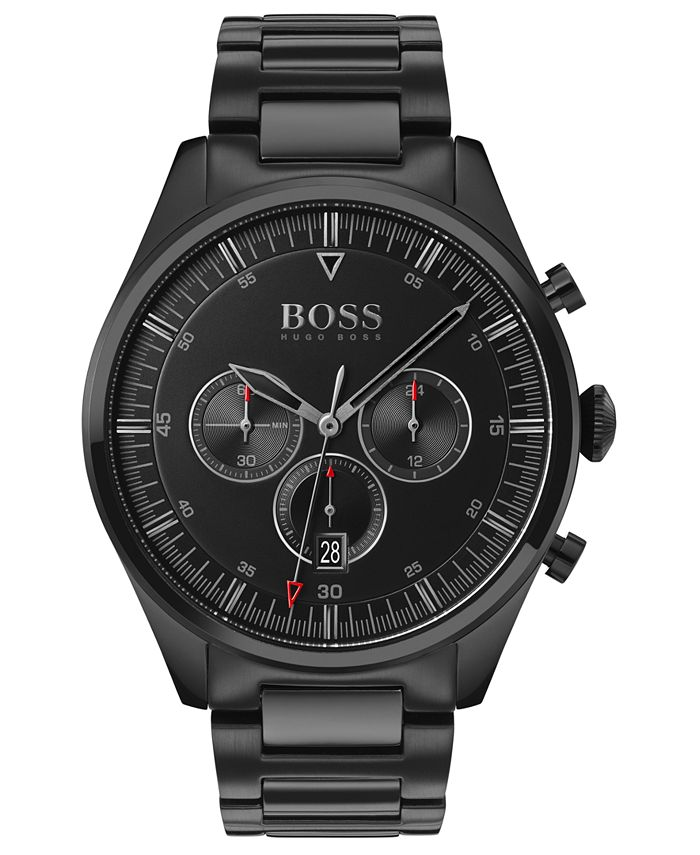 BOSS - Men's Chronograph Pioneer Black Ion-Plated Stainless Steel Bracelet Watch 44mm