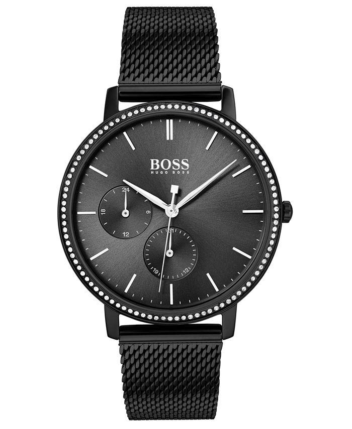 BOSS - Women's Infinity Ultra Slim Black Ion-Plated Stainless Steel Mesh Bracelet Watch 35mm