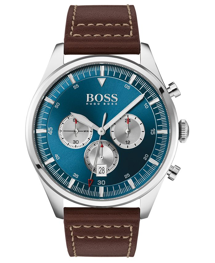 BOSS - Men's Chronograph Pioneer Brown Leather Strap Watch 44mm