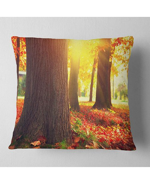 Design Art Designart Autumn Trees In The Sunlight Landscape Printed Throw Pillow 16 X 16 Reviews Decorative Throw Pillows Bed Bath Macy S