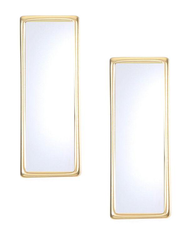 Trifari 14K Gold-Plated Mirror Bar Stud Earrings