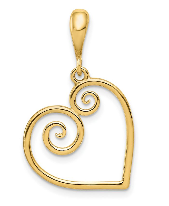 Macy's - Heart Charm in 14k White or Yellow Gold