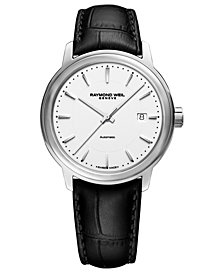 RAYMOND WEIL Men's Swiss Automatic Maestro Black Leather Strap Watch 40mm