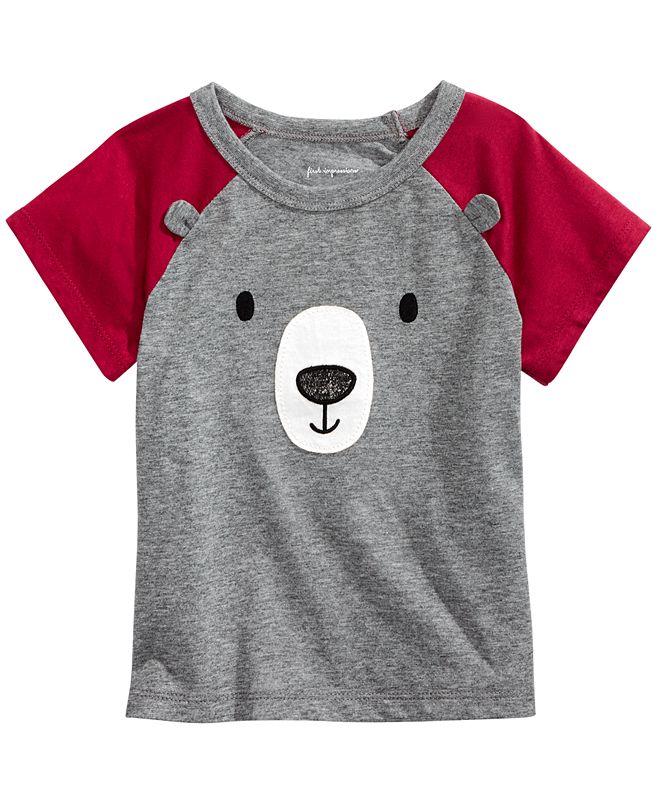First Impressions Baby Boys Short Sleeve Bear Face Raglan, Created for Macy's