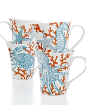 222 Fifth Dinnerware, Set of 4 Coastal Life Assorted Mugs $ 50.00