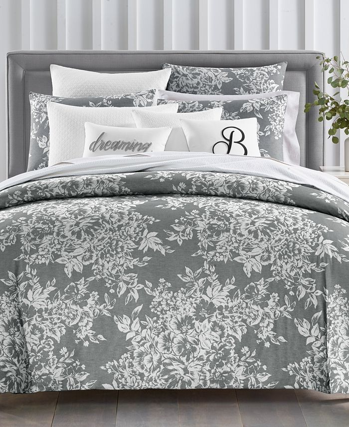 Charter Club - Damask Designs Woven Floral Cotton 300-Thread Count 3-Pc. Full/Queen Duvet Set