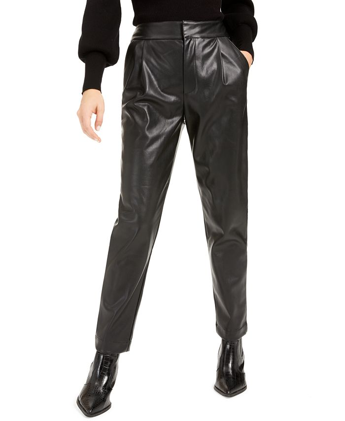 Bar III - Pleated Faux-Leather Pants