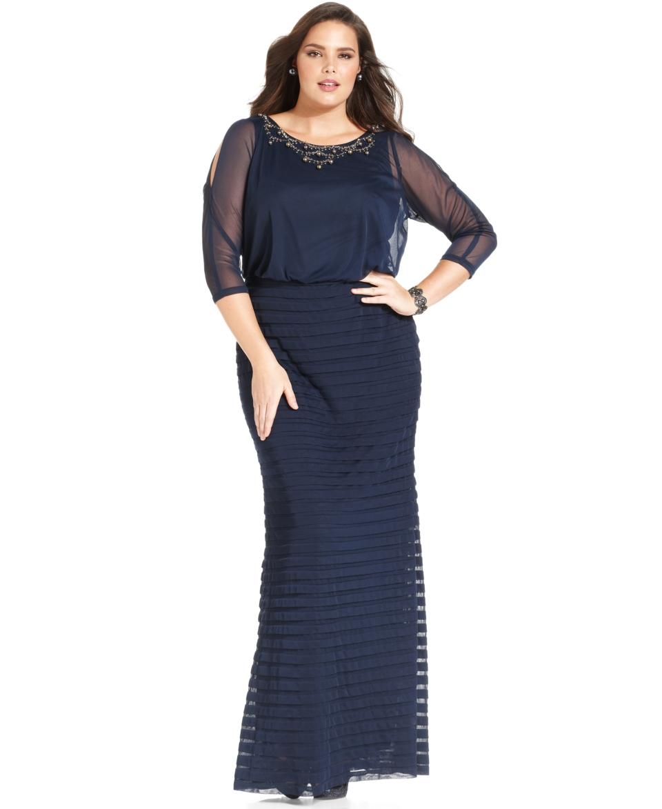 Adrianna Papell Plus Size Dress, Three Quarter Sleeve Beaded Blouson