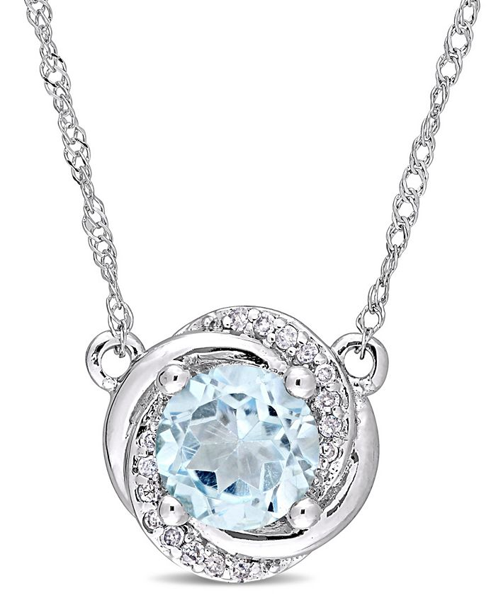 """Macy's - Blue Topaz (1 ct. t.w.) and Diamond Accent Swirl 17"""" Necklace in 10k White Gold"""