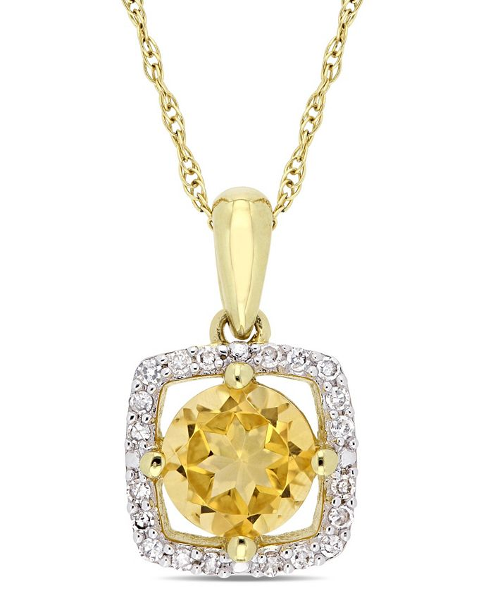 """Macy's - Citrine (3/4 ct. t.w.) and Diamond (1/10 ct. t.w.) Square Halo 17"""" Necklace in 10k Yellow Gold"""