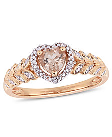 Morganite (1/2 ct. t.w.) and Diamond (1/20 ct. t.w.) Halo Heart Ring in 10k Rose Gold