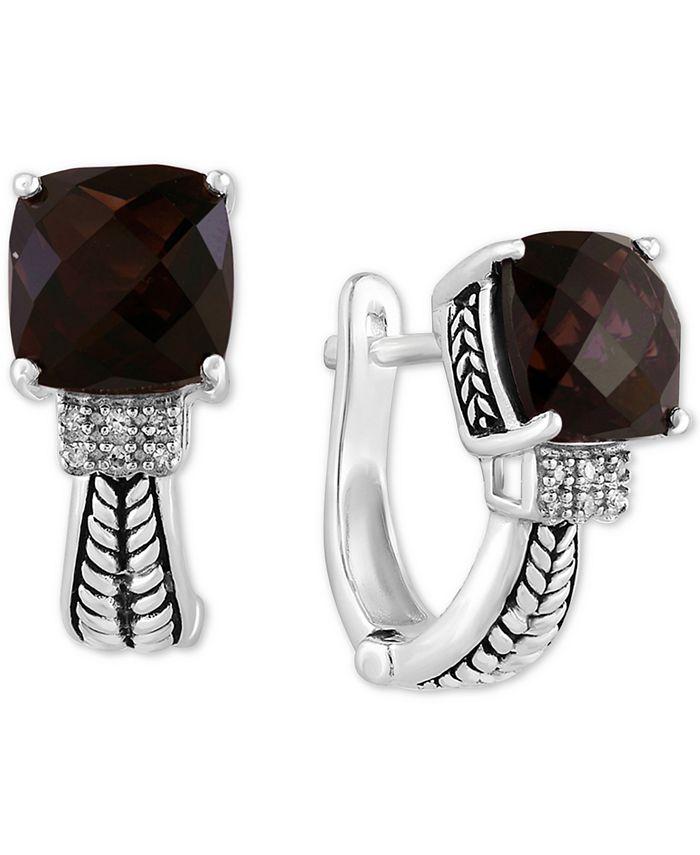 EFFY Collection - Smoky Quartz (5-5/8 ct. t.w.) & Diamond (1/20 ct. t.w.) Hoop Earrings in Sterling Silver