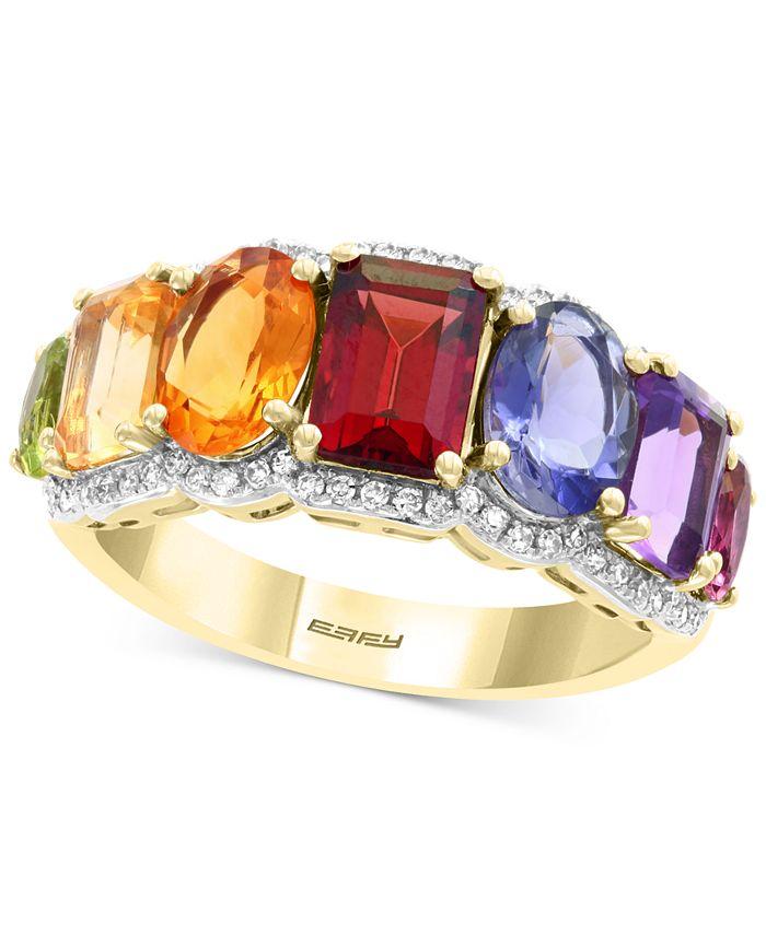 EFFY Collection - Multi-Gemstone (3-1/3 ct. t.w.) & Diamond (1/5 ct. t.w.) Statement Ring in 14k Gold