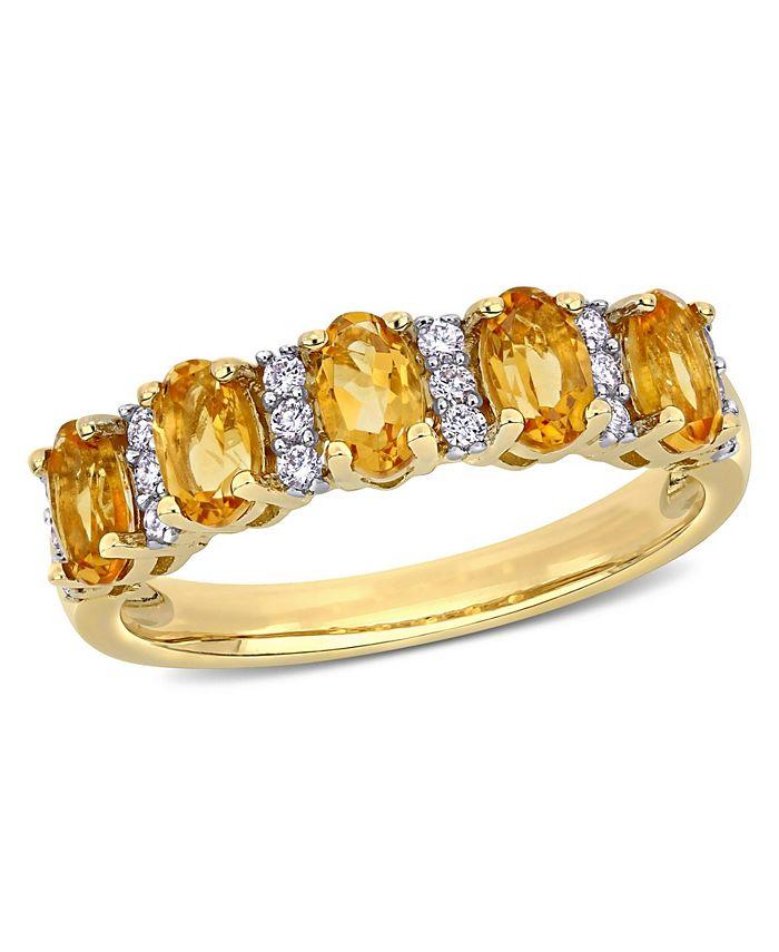 Macy's - Citrine (1-1/6 ct. t.w.) and Diamond (1/6 ct. t.w.) Semi Eternity Ring in 14k Yellow Gold