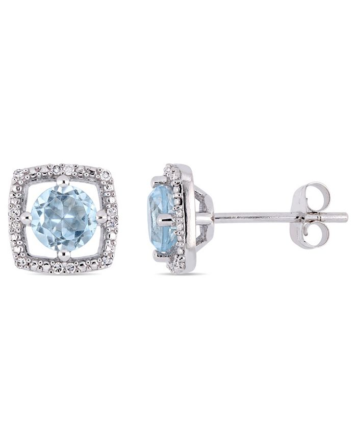 Macy's - Blue Topaz (1 ct. t.w.) and Diamond Accent Halo Square Stud Earrings in 10k White Gold