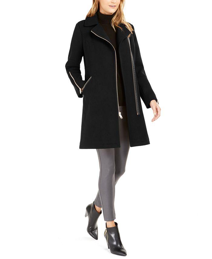 Michael Kors - Faux-Fur-Trim Asymmetrical Coat