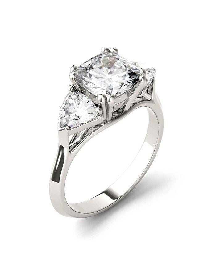Charles & Colvard - Moissanite Three Stone Ring 3 ct. t.w. Diamond Equivalent in 14k White Gold