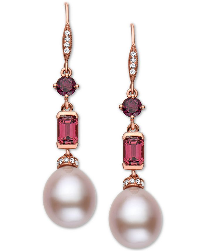 EFFY Collection - Pink Cultured Freshwater Pearl (12 x 10mm), Multi-Gemstone (2 ct. t.w.) & Diamond (1/8 ct. t.w.) Drop Earrings in 14k Rose Gold