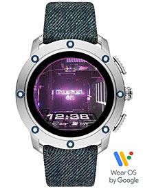 Diesel Tech Men's Axial Denim Blue Fabric Strap Touchscreen Smart Watch 48mm, Powered by Wear OS by Google™