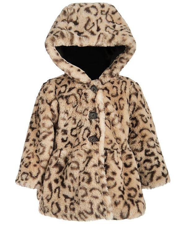 First Impressions Baby Girls Leopard Plush Coat, Created for Macy's