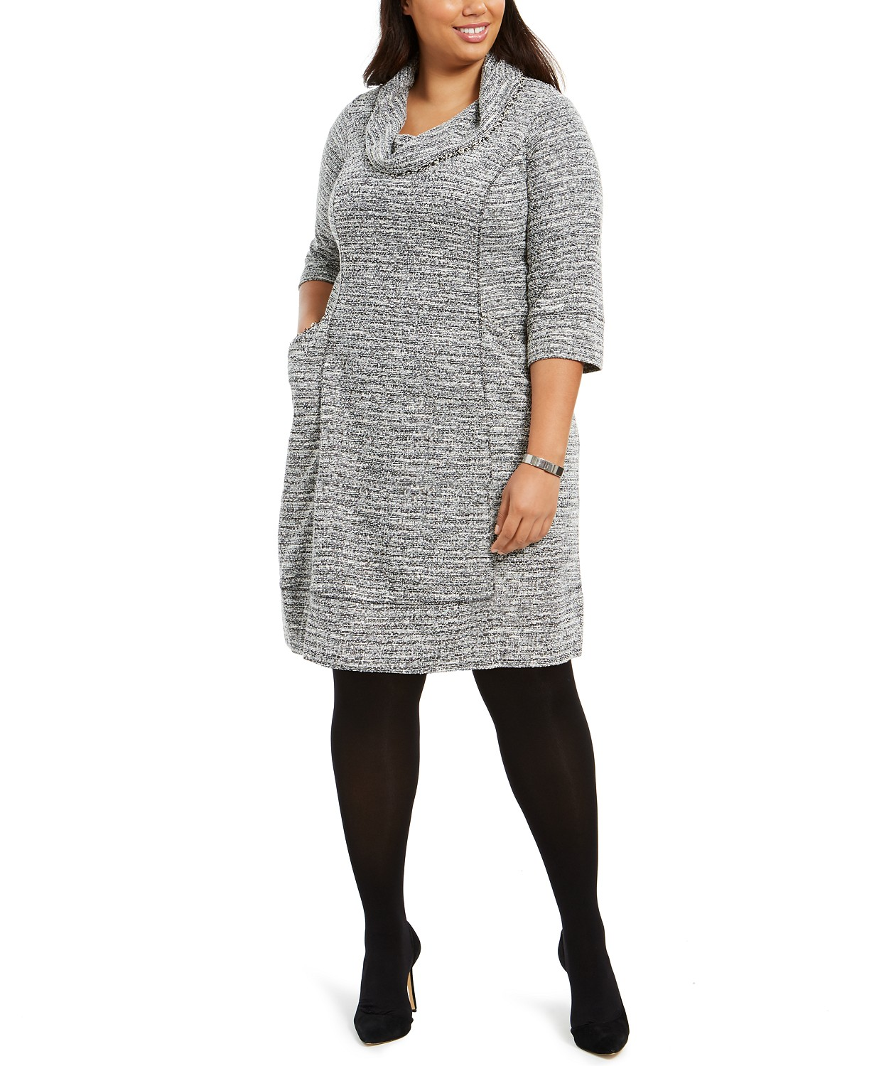 Plus Size Cowlneck Sweater Dress