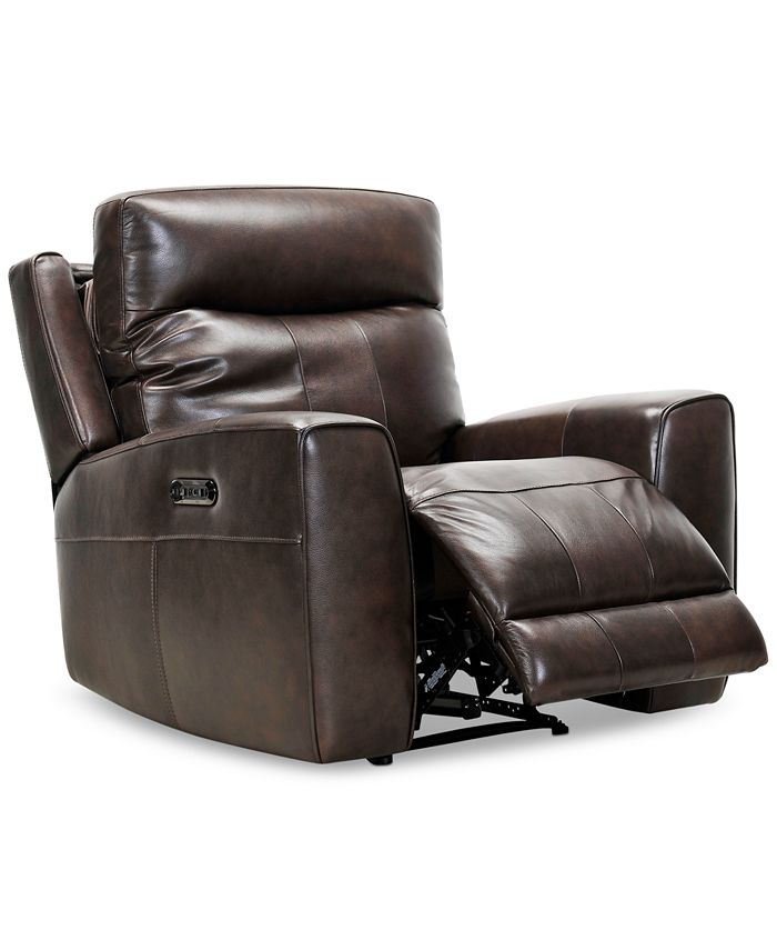 "Furniture - Bitola 40"" Leather Dual Power Recliner"