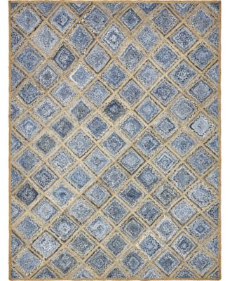 Braided Square Bsq6 Blue 8' x 10' Area Rug