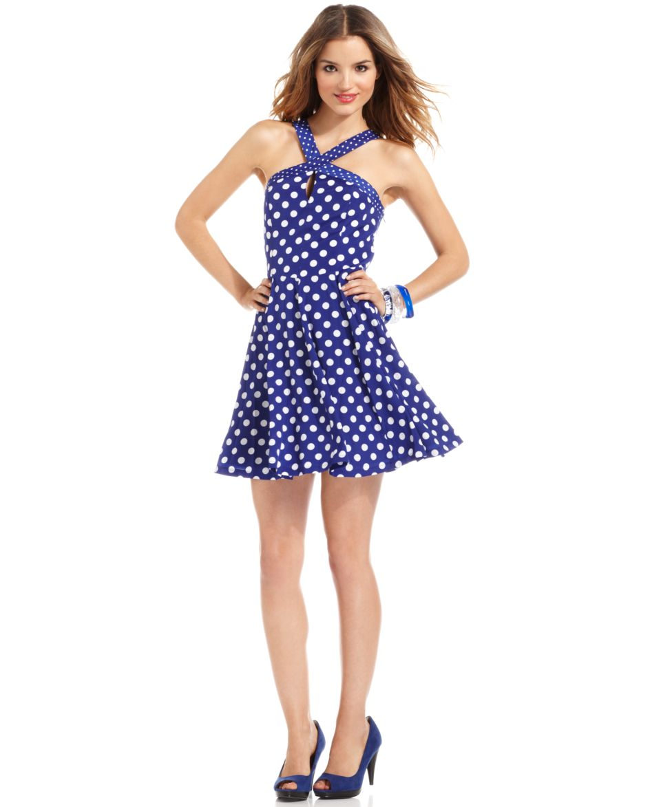 GUESS Dress, Sleeveless Polka Dot Print Swing   Dresses   Women