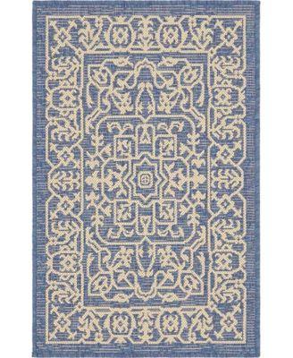 Pashio Pas6 Navy Blue 2' x 6' Runner Area Rug
