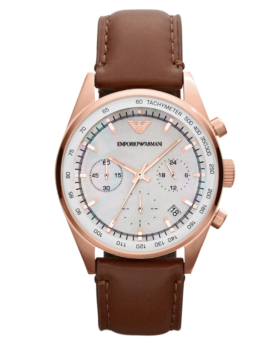 Emporio Armani Watch, Mens Automatic Meccanico Brown Leather Strap 43mm AR4662   Watches   Jewelry & Watches
