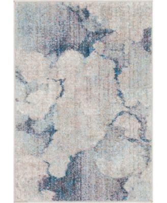 Prizem Shag Prz4 Blue Gray 6' x 6' Round Area Rug