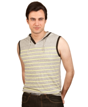 Marc Ecko Cut  Sew Shirt Printed Stripe Sleeveless Hoodie