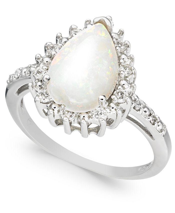 Macy's - Opal (1-3/4 ct. t.w.) & Diamond (1/4 ct. t.w.) Ring in Sterling Silver