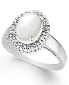Opal (3/4 ct. t.w.) & Diamond (1/3 ct. t.w.) Ring in 14k White Gold