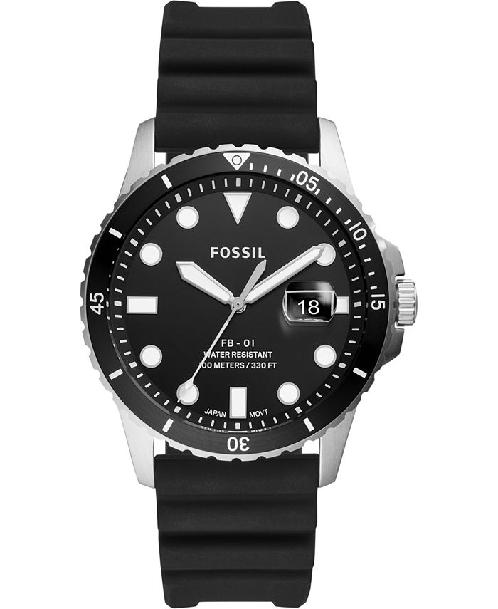 Fossil - Men's Blue Dive Black Silicone Strap Watch 42mm