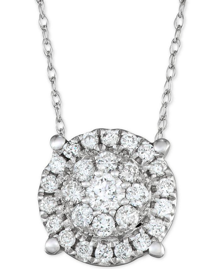 "Macy's - Diamond Halo 18"" Pendant Necklace (1/2 ct. t.w.) in 14k White Gold"